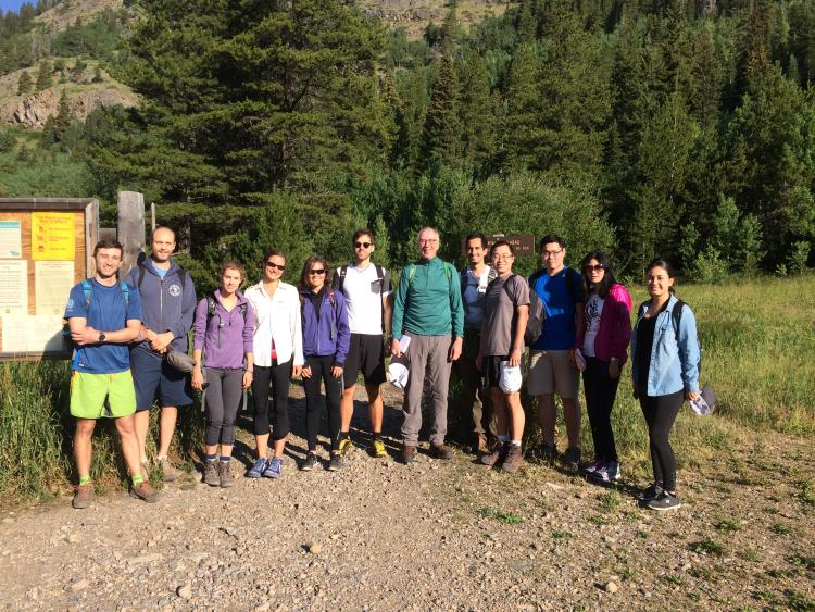 Lab Members at Heart Lake Trailhead