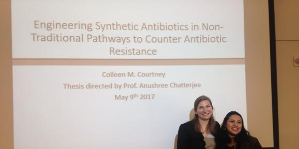 Colleen at her thesis defense