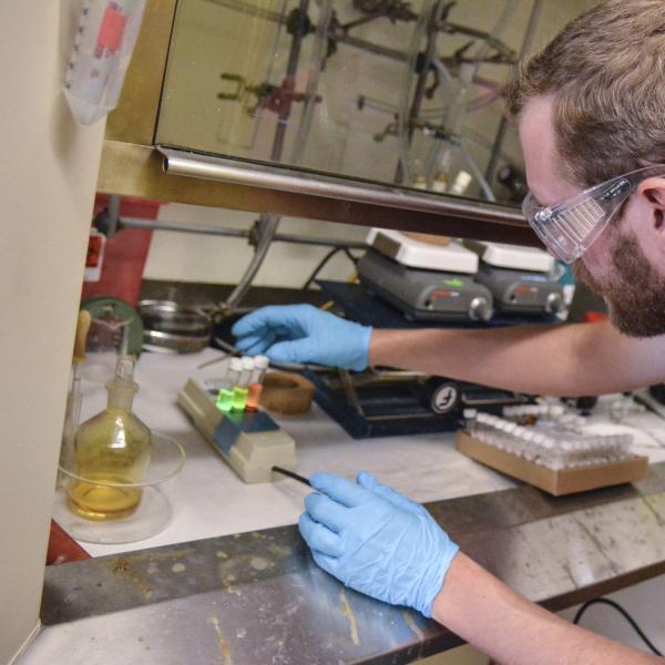 Hayden showing quantum dot fluorescence