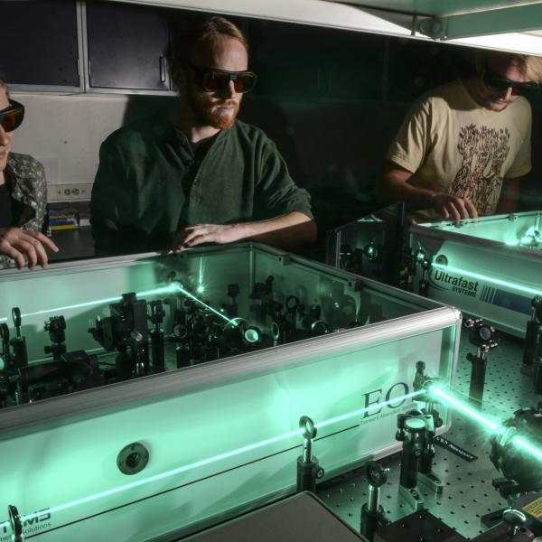 Amanda, James, and Jesse in the laser lab