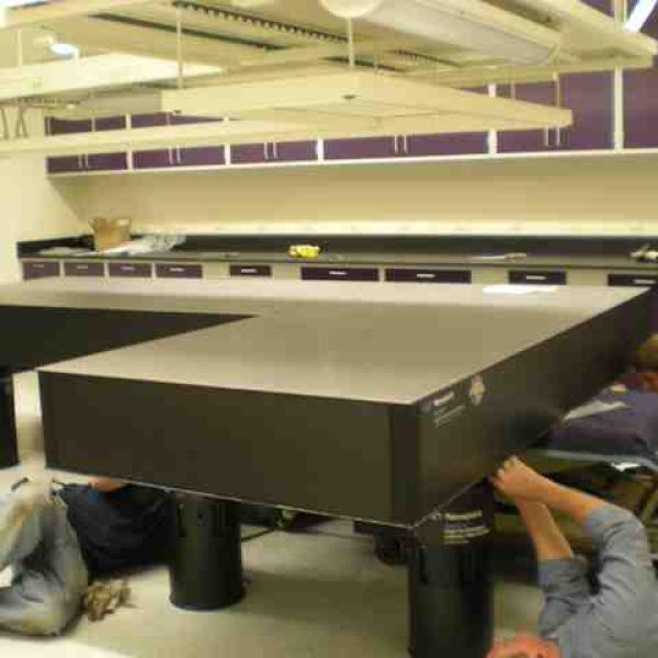 Transport and installation of the laser tables into the laser lab (January, 2011)