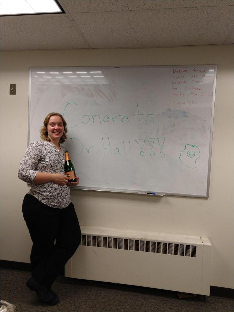Leah at PhD defense celebration