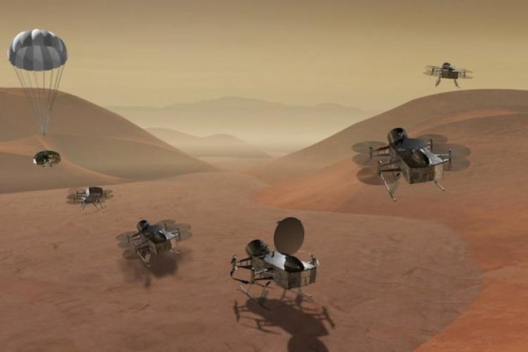 picture of helicopters and lander on Titan