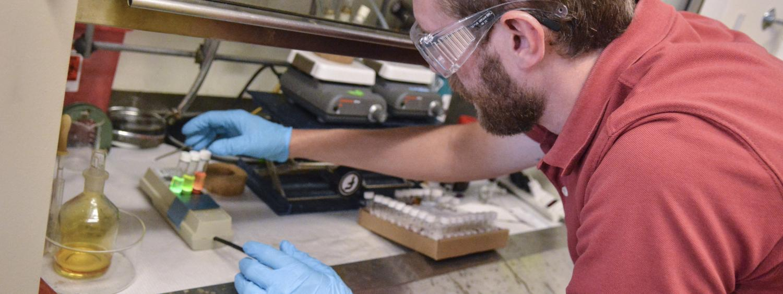 Hayden showing fluorescence of quantum dots
