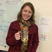 Kristina with her beaker-mug prize