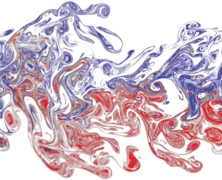 Red and purple fluids mixing creating a fluid design