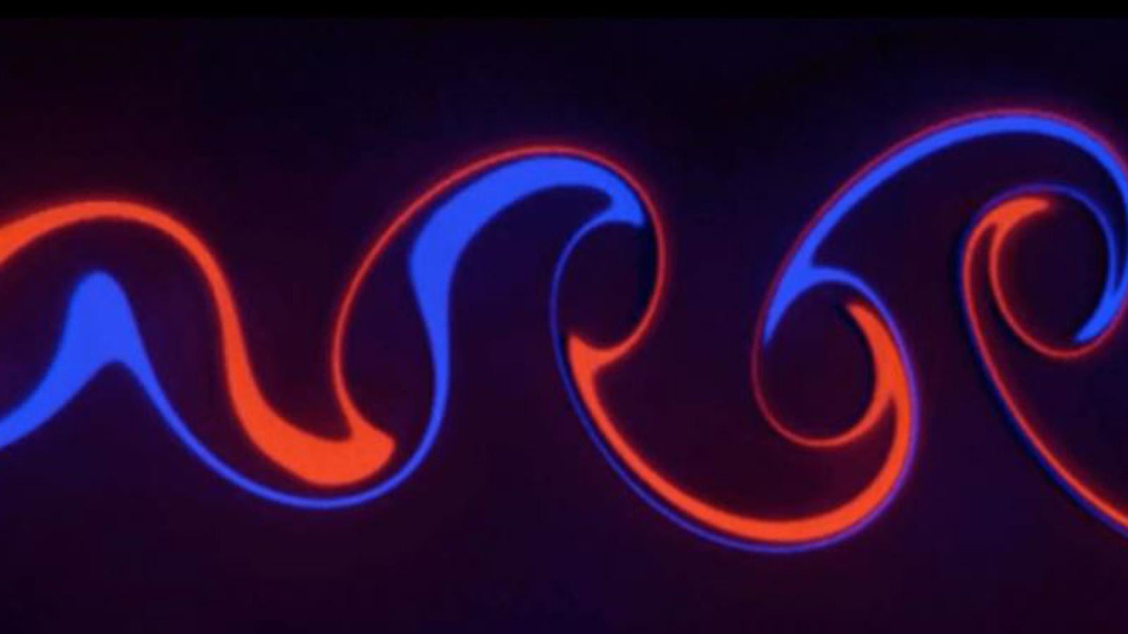 Fluid design in red and blue