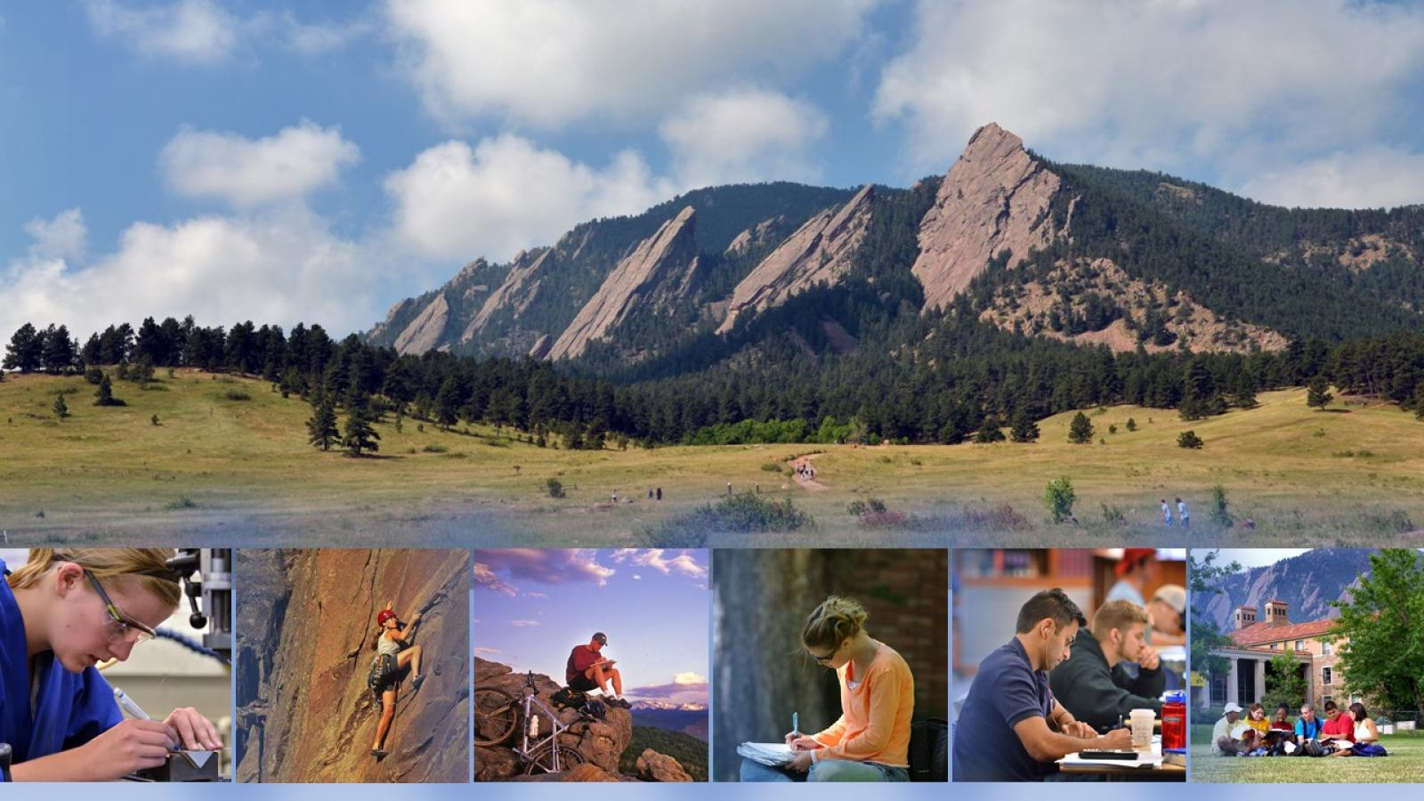 A mountain scene, with images of students working and recreating