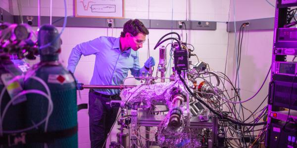Zachary Sobell at UHV Reactor for EE-ALD; Electron-Enhanced Atomic Layer Deposition, Ultra-High Vacuum, Auger Electron Spectroscopy
