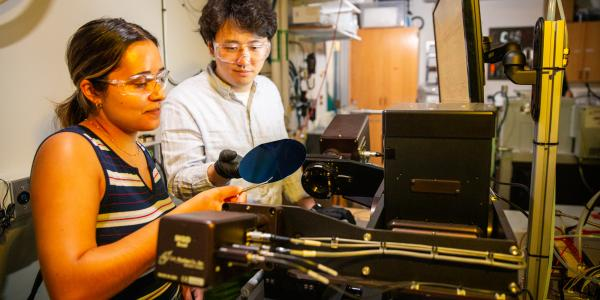 Taewook Nam & Janine Sempel at the M-2000 VASE; Variable Angle Spectroscopic Ellipsometry