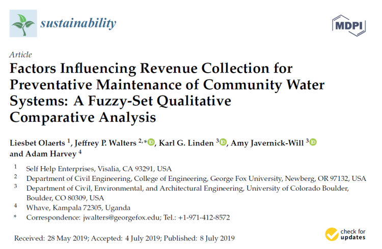 """Cover of the journal article in Sustainability titled """"Factors Influencing Revenue Collection for Preventative Maintenance of Community Water Systems"""""""
