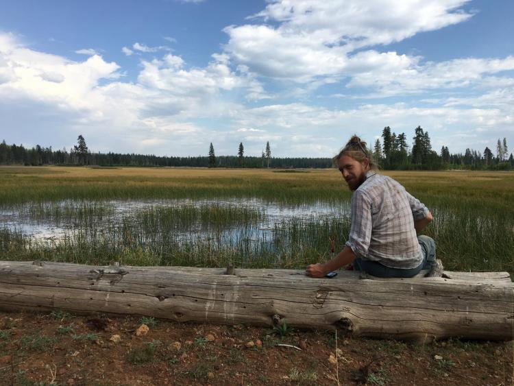 Travis at pond