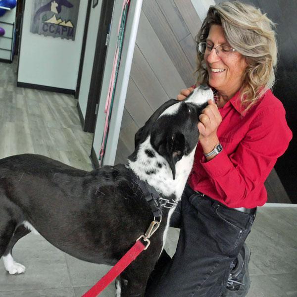 Linda Watkins and puppy