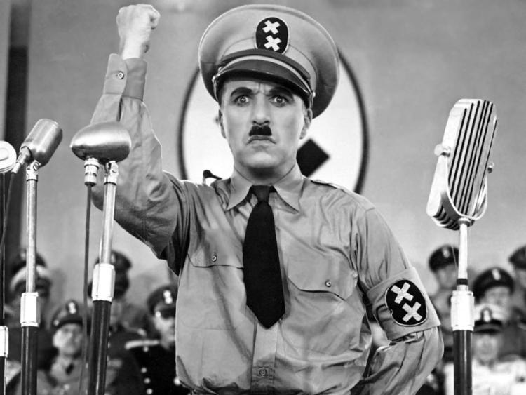 Charlie Chaplin in The Great Dictator (public domain).