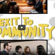 """Video still from YouTube with the words """"Exit to Community"""""""