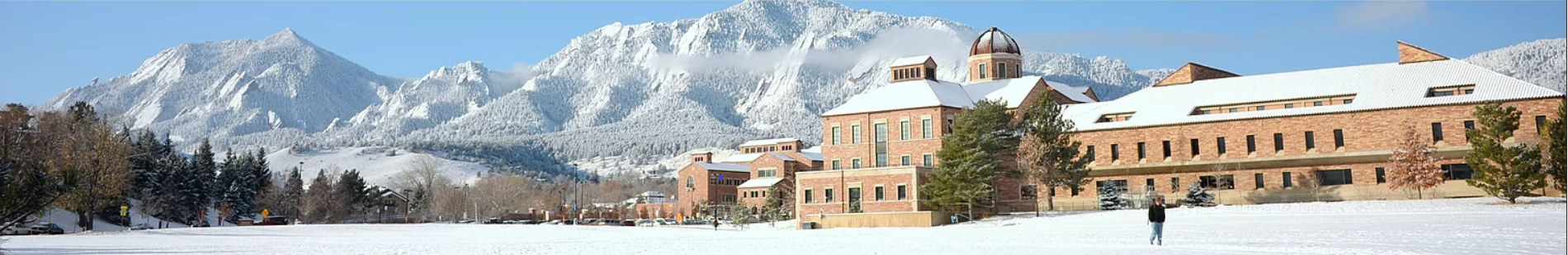 Leeds business building and the mountains covered in snow