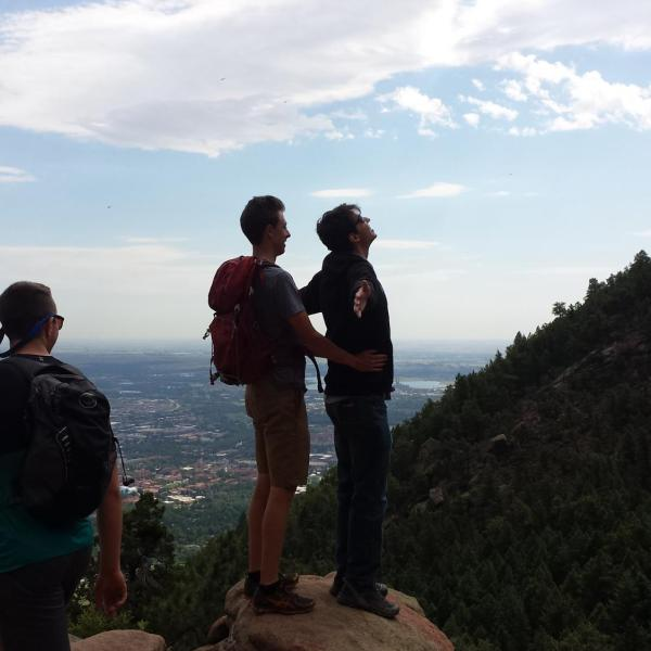 Dramatic pose with Ty and Tashi above the flatirons
