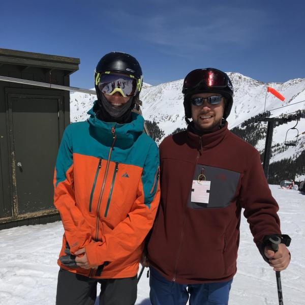 Tashi and Brad P out skiing