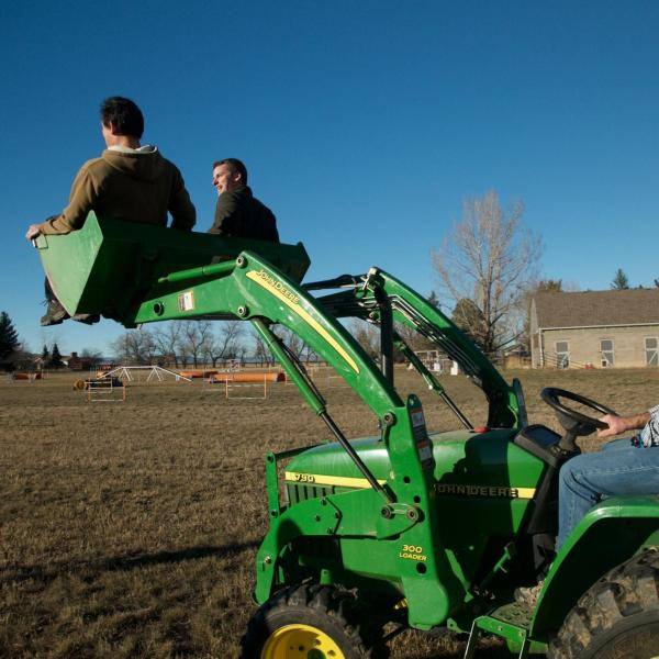 Brad driving the boys on the tractor