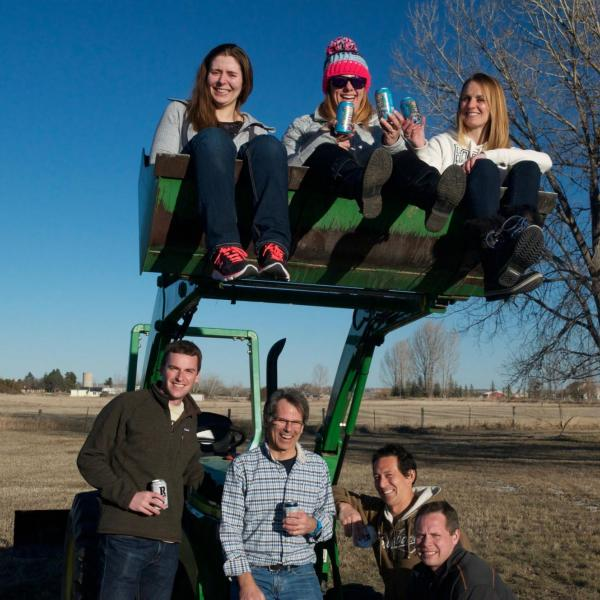 The lab on the tractor