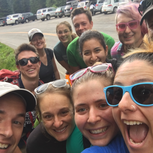 Lab group selfie while hiking.