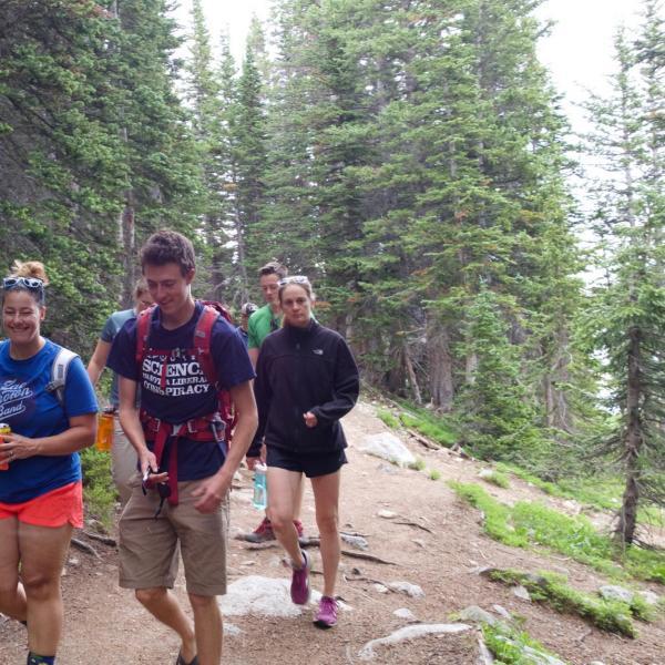 Nicole and tiffany and tashi on the trail