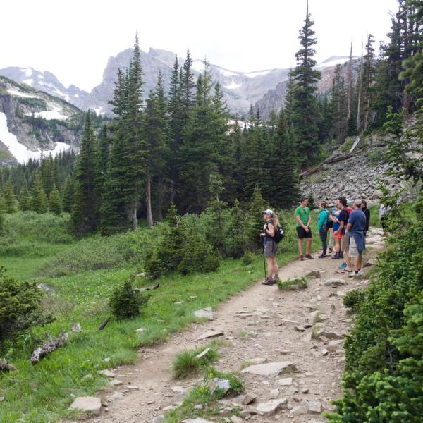 Lab members hiking on the trail with the indian peaks in the background