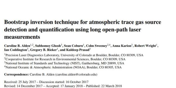 The front page of Caroline's paper on Atmospheric Measurement Techniques