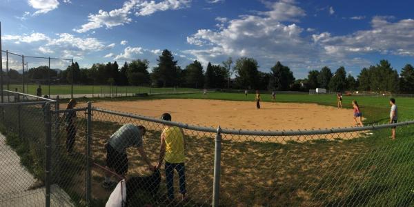 A spacious kickball field