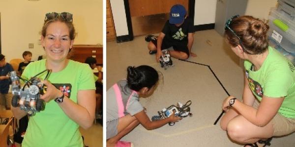 Torrey Hayden teaching young student engineering problems