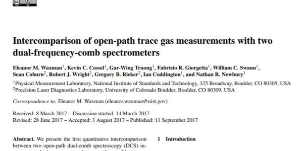 The front page of Eleanor's paper in Atmospheric Measurement Techniques