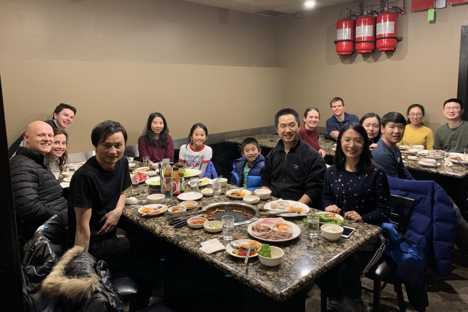 Group dinner to celebrate Yangyang passing his defense
