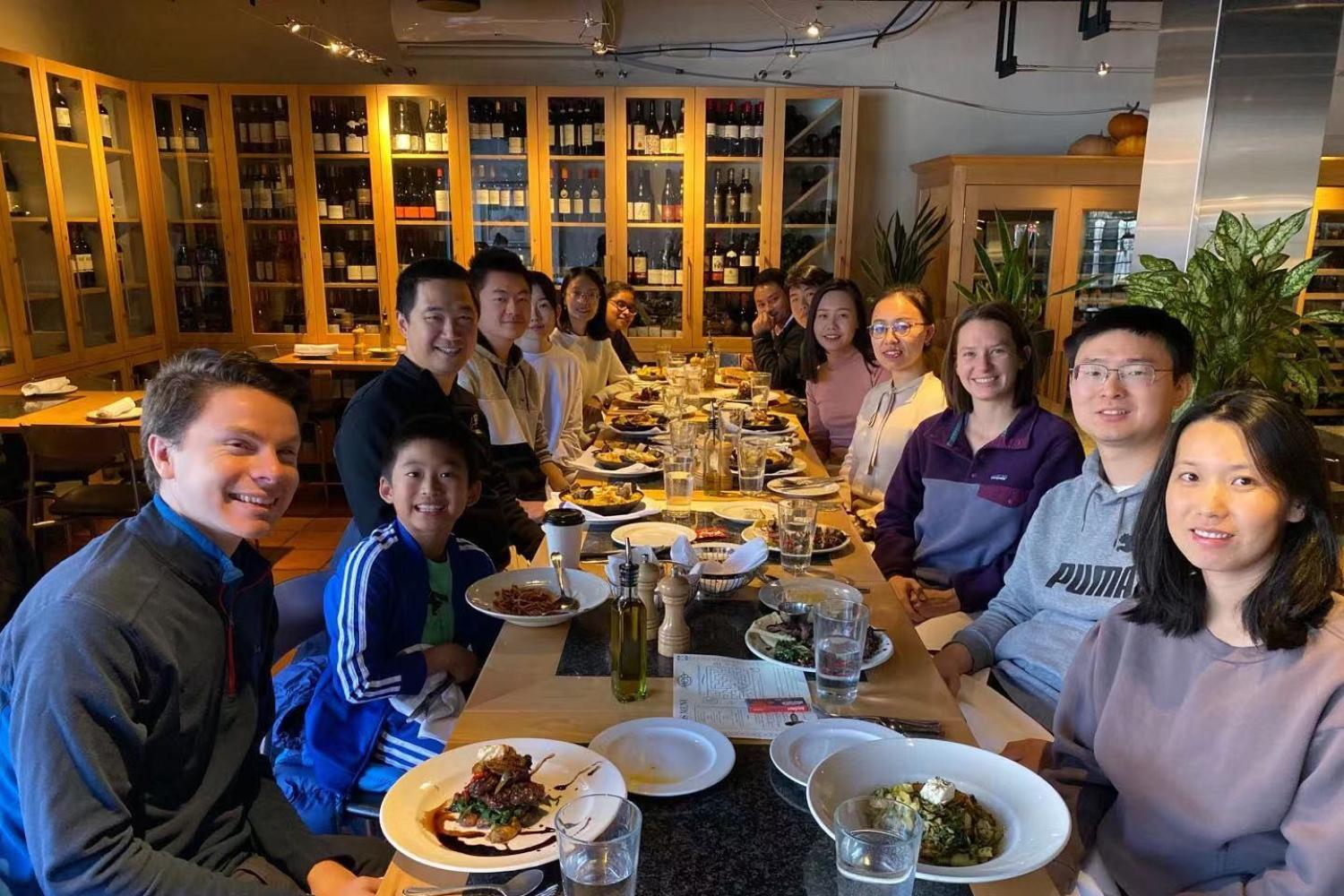 Group lunch to celebrate Yunyang passing his defense