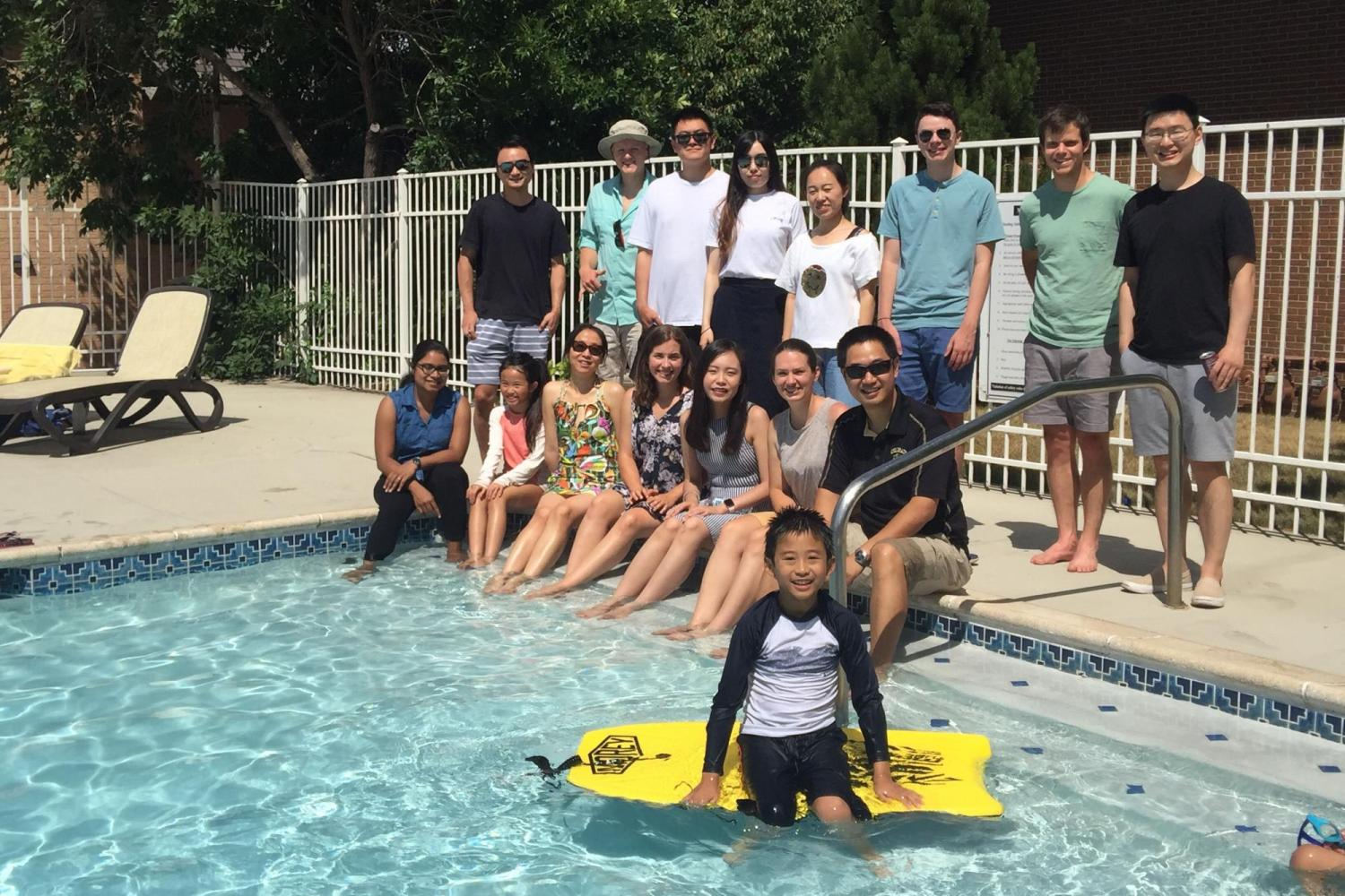 Group party at Dr. Zuo's community pool