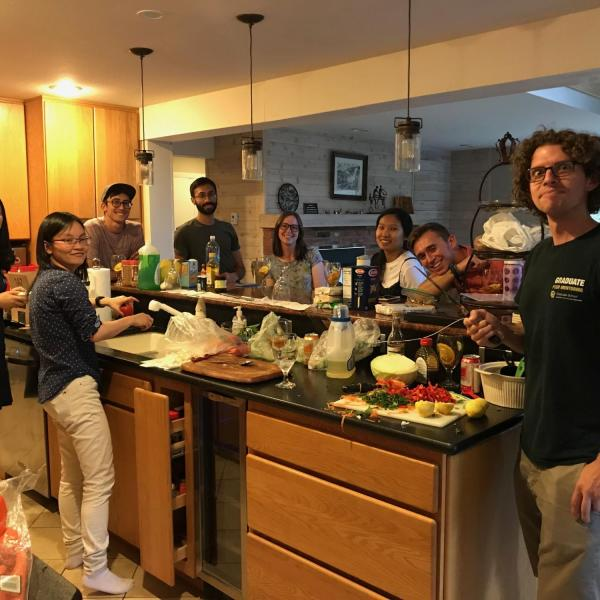 Making dinner at the lab retreat
