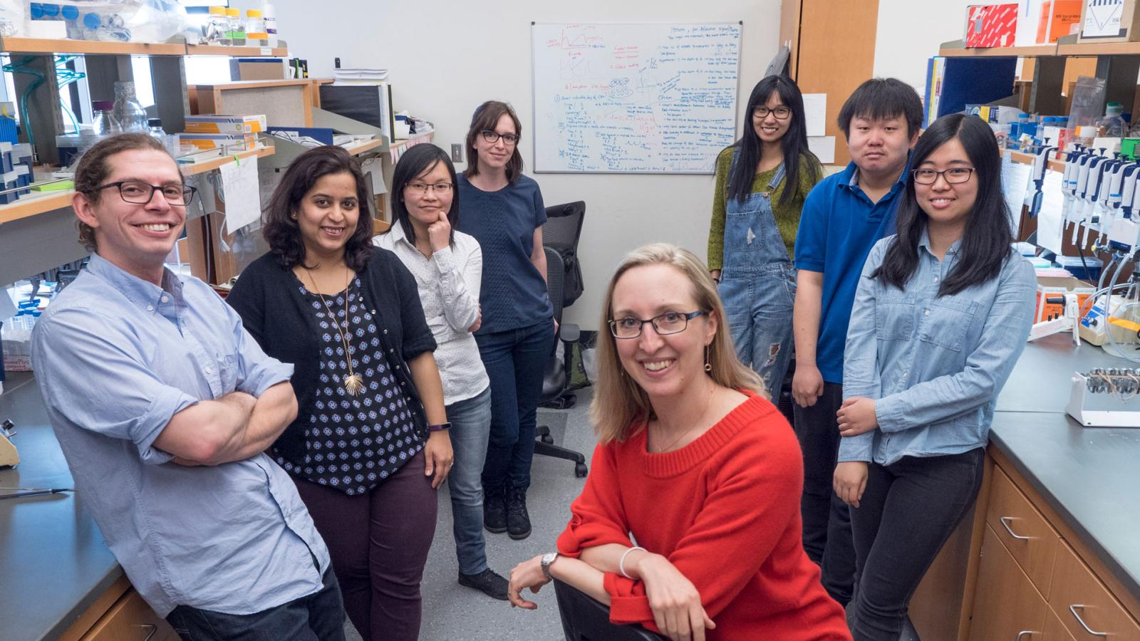 Spencer Lab Members: Justin (left), Mansi, Mingwei, Claire, Sabrina, Chen, Chengzhe, Yao