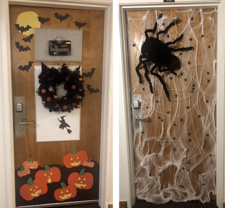 Mia wins a Halloween door decorating contes