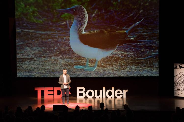 Scott at TEDx, blue-footed booby photo