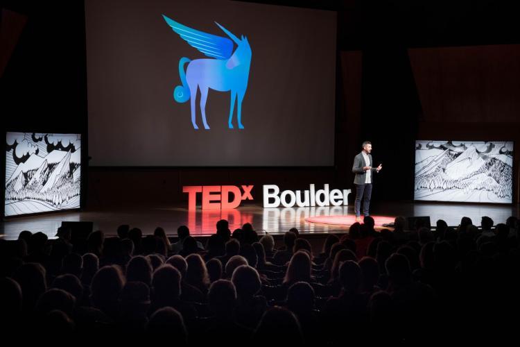 Scott at TEDx, Pegacorn photo