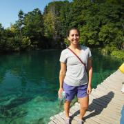 Kathryn enjoying Plitvice Lakes National Park in Croatia