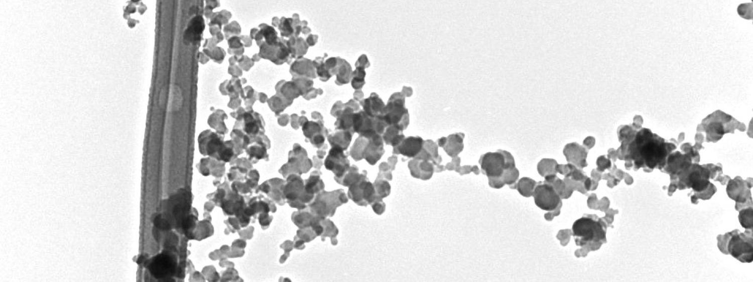 Electron microscopy image of candle soot