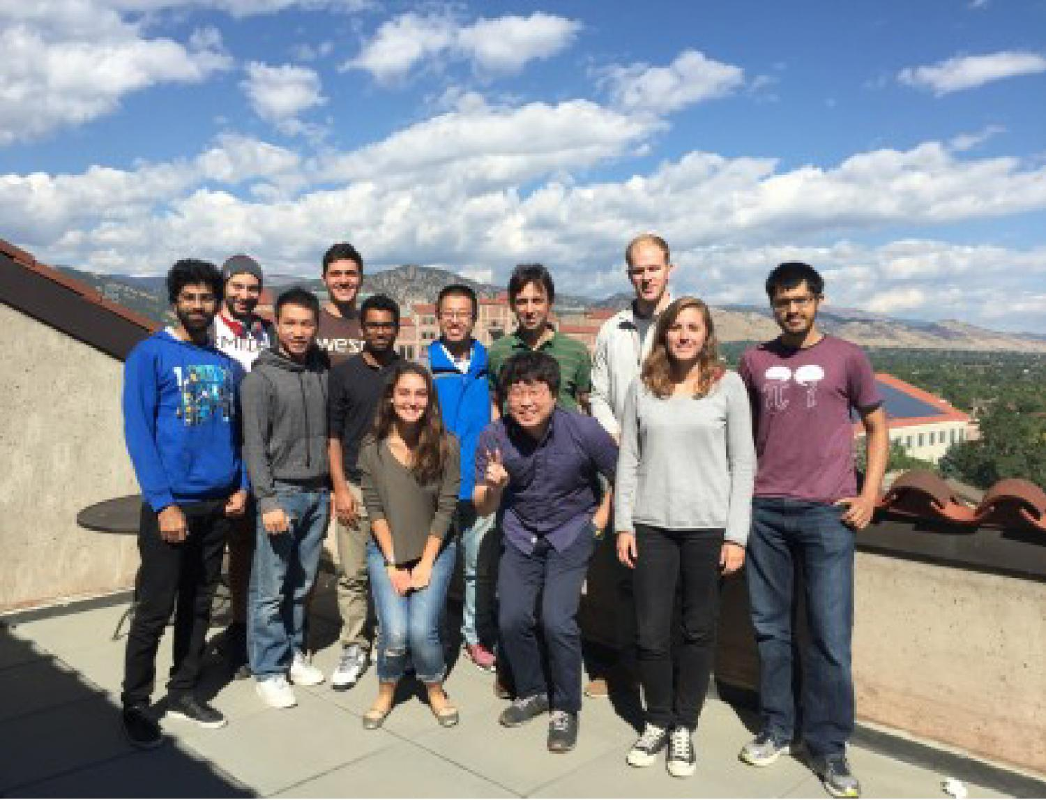 Research group on the roof of the Engineering Center