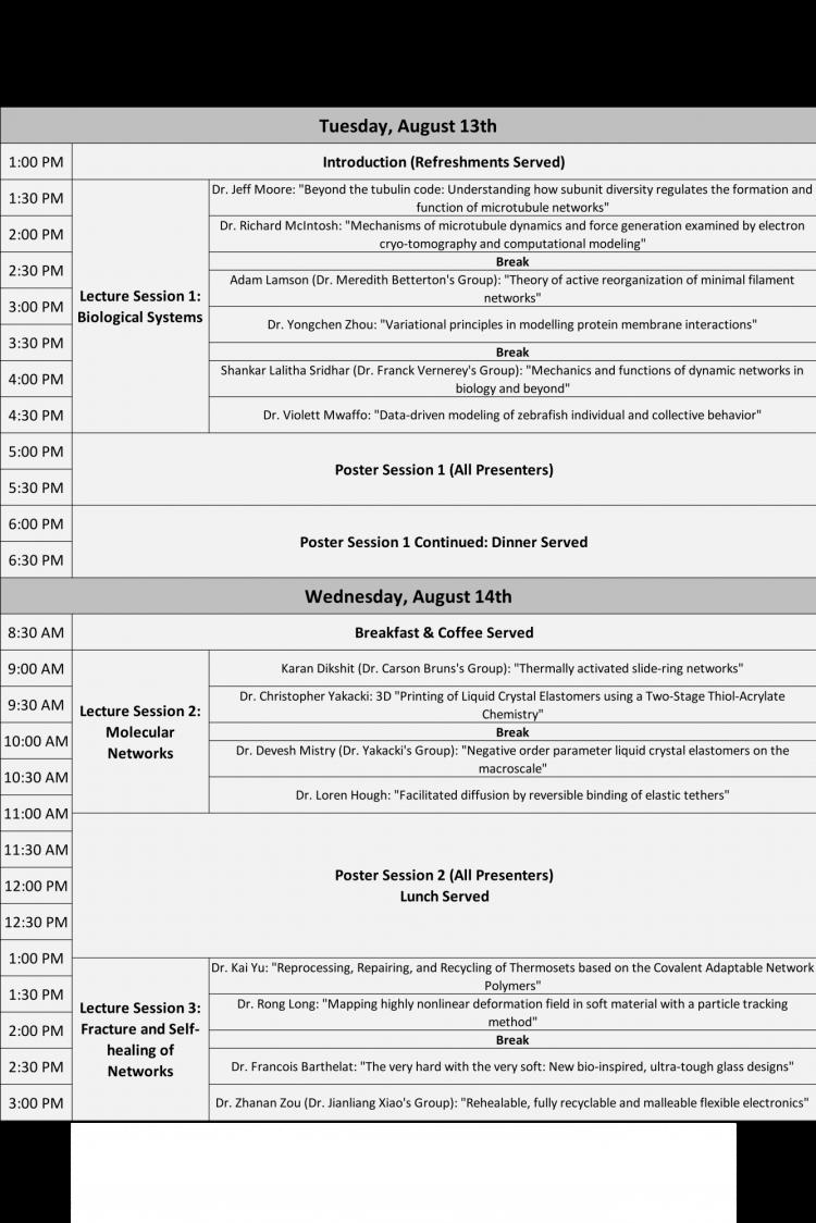 full schedule of 2019 active matter workshop