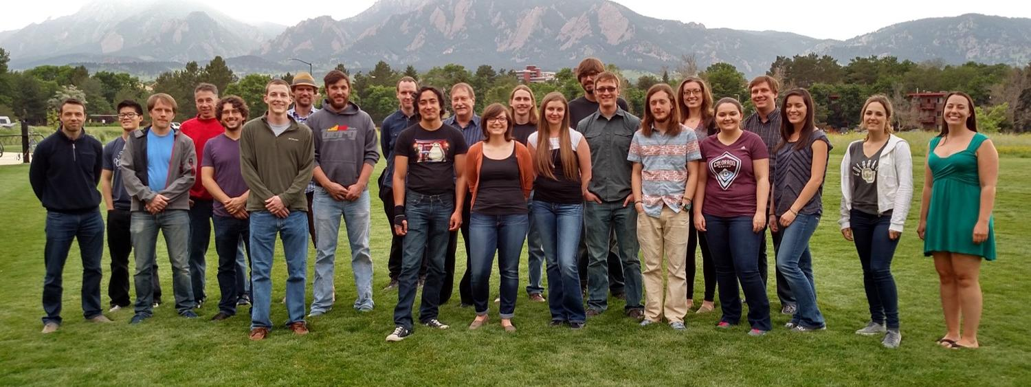 Members of Team Weimer during Summer 2015, with the Flatirons on the back