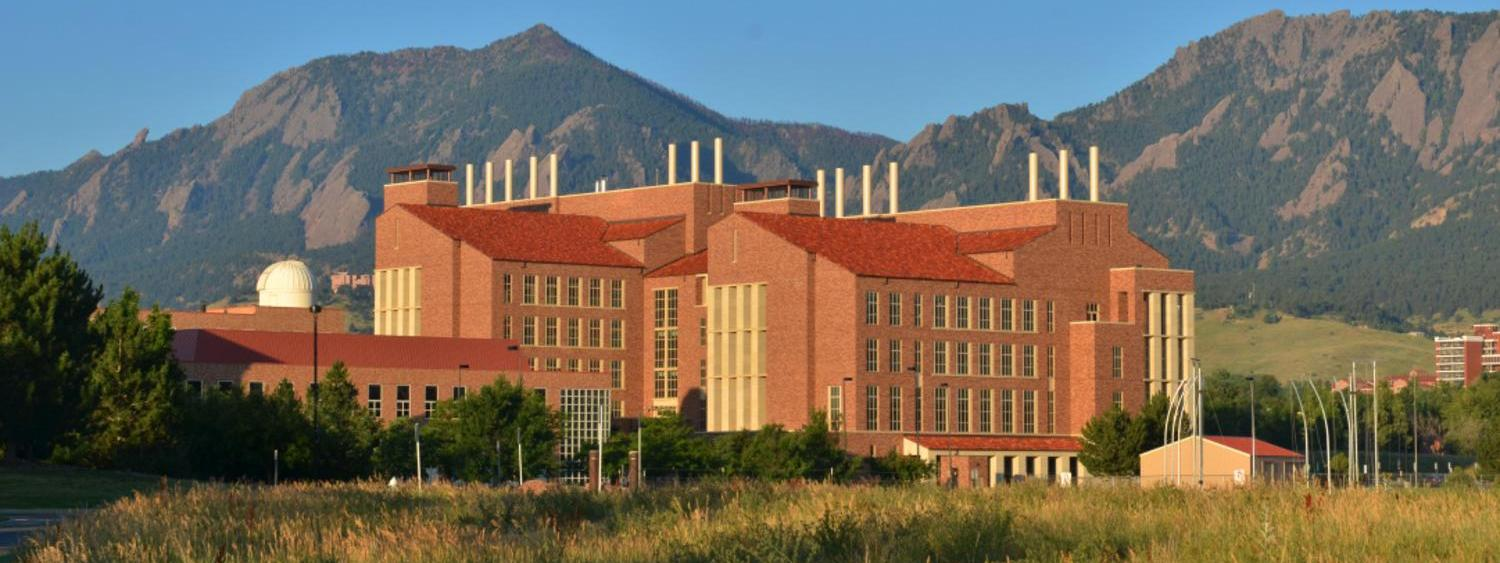 Panoramic view of the Biotechnology Building with the Flatirons on the back