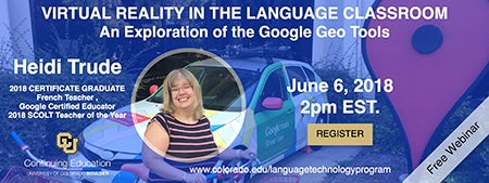 Free webinar virtual reality in the language classroom an heidi trude 2018 certificate graduate french teacher google certified educator and 2018 scolt teacher of the year will present the findings from the sciox Images