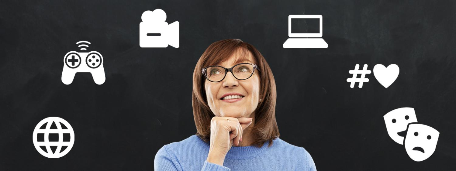 middle aged woman looking at various icons of tech tools