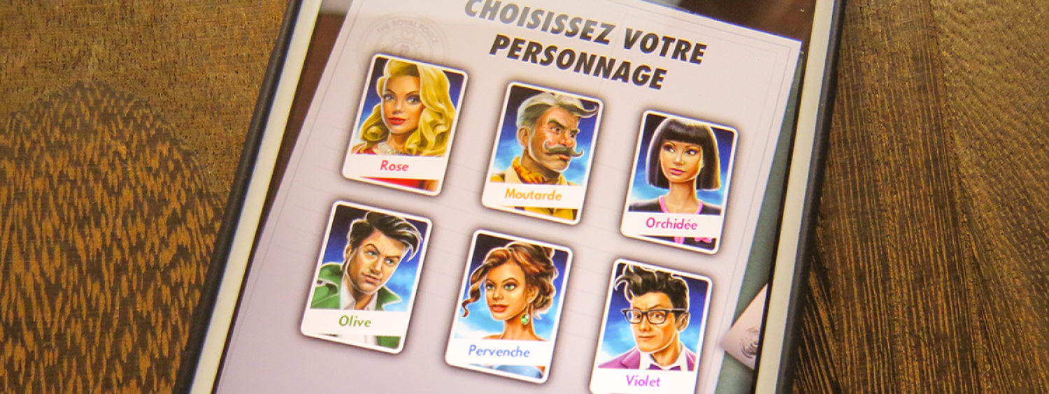 Screenshot of the app version of the game Clue