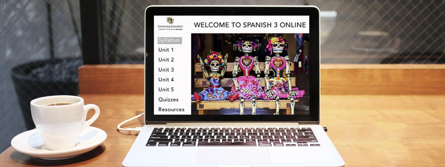 Computer screen showing an online Spanish course