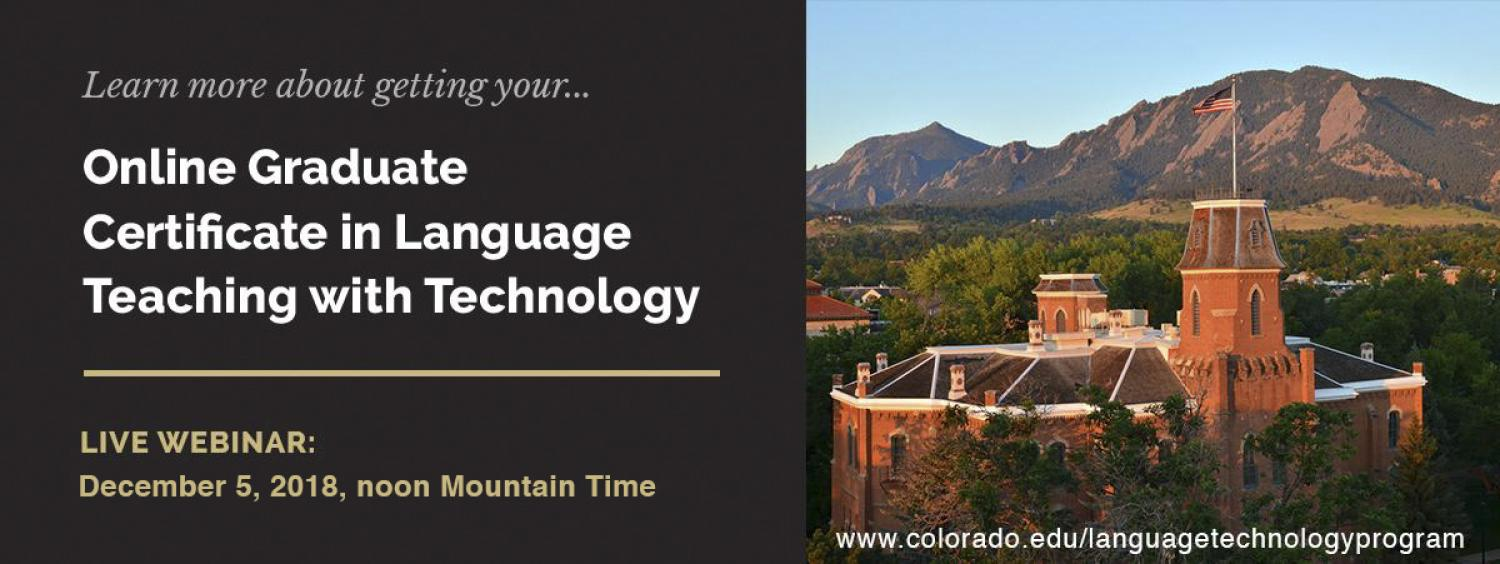 image of Boulder campus, live webinar on the certificate December 5 noon Mountain time